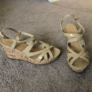 Nude strapy wedges